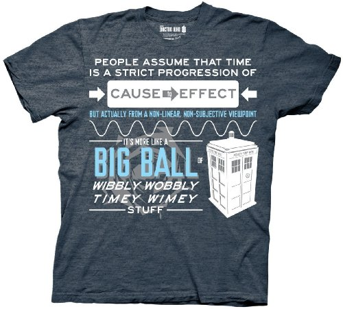 Doctor Who Wibbly Wobbly Quote Adult Heather Navy T-Shirt (Adult Large)