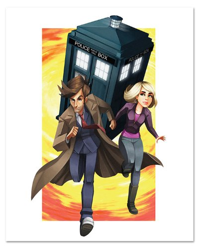 Doctor Who: Adventures of the 10th Doctor & Rose Tyler Comic Strip Animation Lithograph Fine Art Print