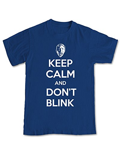 'Keep Calm And Don't Blink' Doctor Who T-Shirt – Navy Blue (XL)