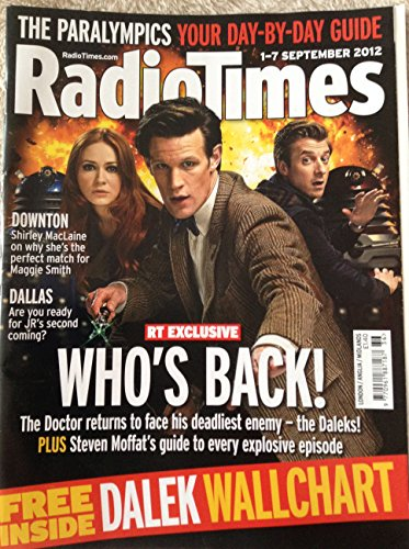Radio Times Doctor Who Front Cover 1st to 7th Of September 2012 – Who's Back – Featuring Matt Smith As The Doctor Who And Karen Gillan As Amy Pond & Arthur Darvill As Rory Williams