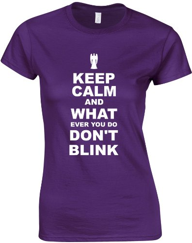 Keep Calm and Don't Blink, Ladies Printed T-Shirt – Purple/White S = 6-8