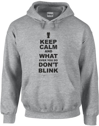 Keep Calm and Don't Blink, Printed Hoodie – Sports Grey/Black XL