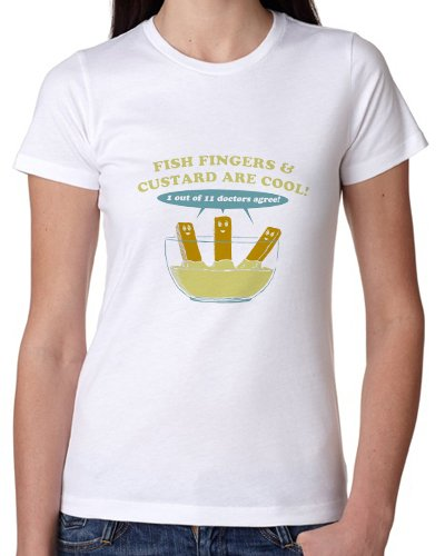 Fish Fingers And Custard Are Cool Funny T-Shirt – Medium Womens
