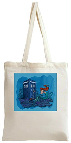 Mermaid And Blue Callbox Tote Bag