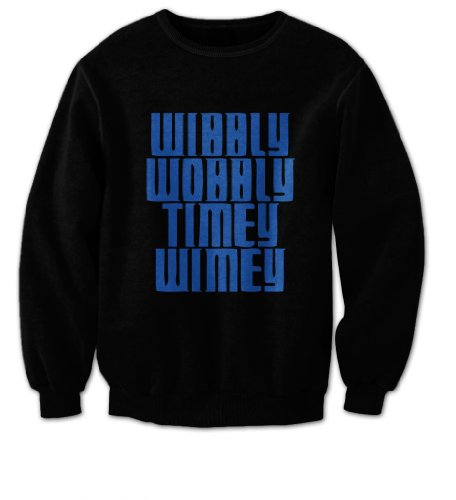 Doctor Who – Wibbly Wobbly Timey Wimey Mens Sweater (Blue on Black) (Medium)