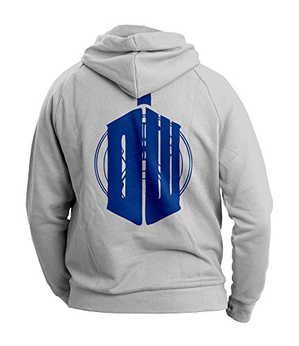 Doctor Who Inspired Mens Hoodie (Blue on Heather Grey) (Medium)