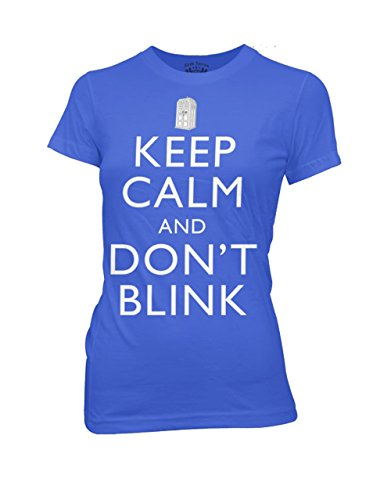 Doctor Who T-Shirt, Womens Dr Who Keep Calm And Don't Blink Royal Blue, Medium, Bust 30 – 32″