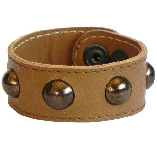 beige leather plus golden faience, rivet bracelet, with Dalek inspired hemisspheres