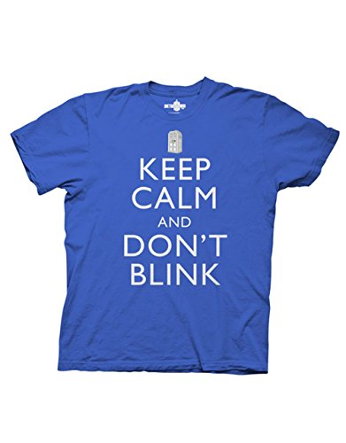 Doctor Who T-Shirt, Mens Dr Who Keep Calm And Don't Blink Royal Blue, Medium, Chest 38 – 40″