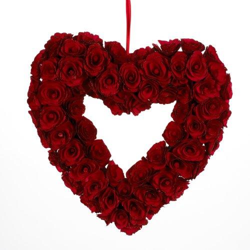 Landon Tyler 34 cm Wood Rose Line Heart, Red