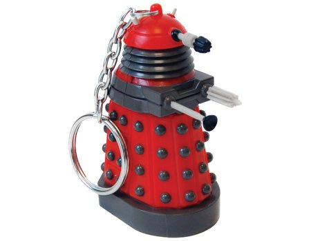 New Doctor Who Fans Stylish Keychain With 3d Moulded Dalek Torch Cdu 8 Red