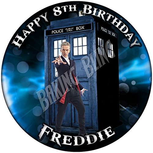 DOCTOR WHO TARDIS BLUE PERSONALISED BIRTHDAY Edible Icing Cake Topper 7.5″ by Baking Bling