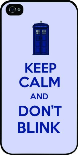 Tardis Keep Calm and Don't Blink White Hard Snap on Case Cover for Apple Iphone 4, Iphone 4 Universal: Verizon – Sprint – At&t – Great Affordable Gift!
