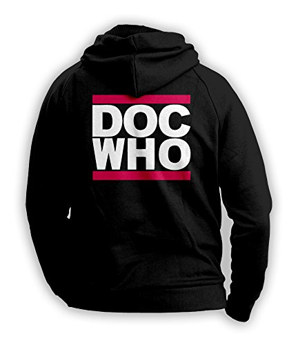 Doctor Who Run DMC Style Inspired Mens Hoodie (White/Pink on Black) (Medium)