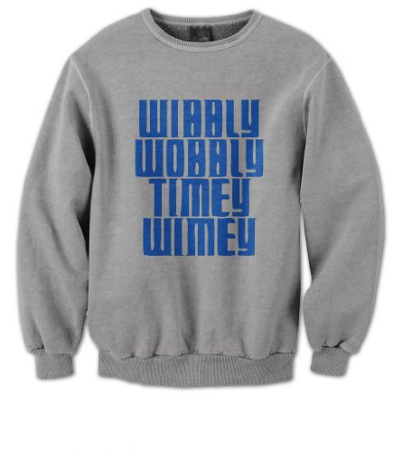 Doctor Who – Wibbly Wobbly Timey Wimey Mens Sweater (Blue on Grey)(Small)
