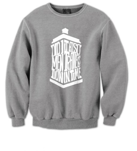Doctor Who Tardis – Did I Mention It Also Travels In TIme Mens Sweater (White on Grey) (Small)