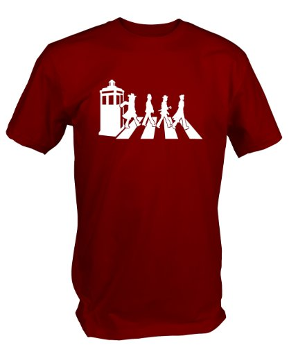 """Custom """" GALLIFREY ROAD """" T Shirt Dr Who fan art Available S – XXL in Black Blue Red (XXL, Red)"""