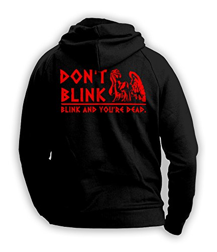Doctor Who Don't Blink, Blink And You're Dead. Inspired Mens Hoodie (Red on Black) (XX-Large)