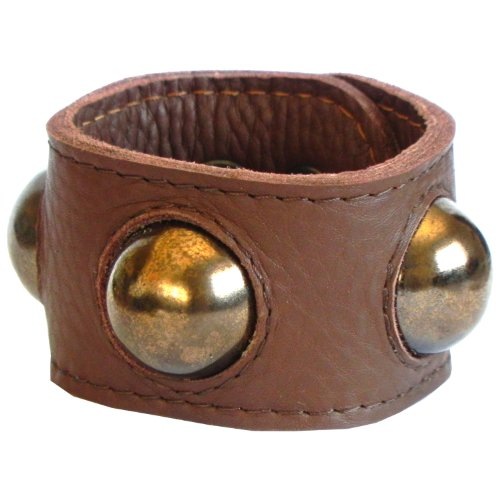 beige leather plus golden faience, rivet bracelet, with Dalek inspired hemisspheres