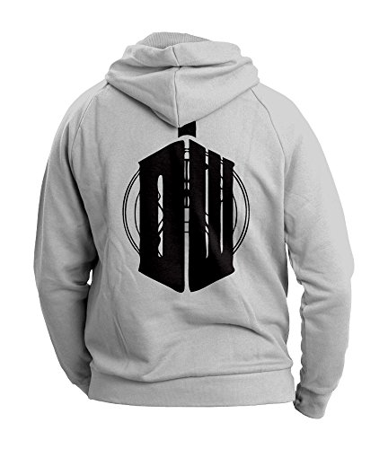 Doctor Who Inspired Mens Hoodie (Black on Heather Grey) (X-Large)