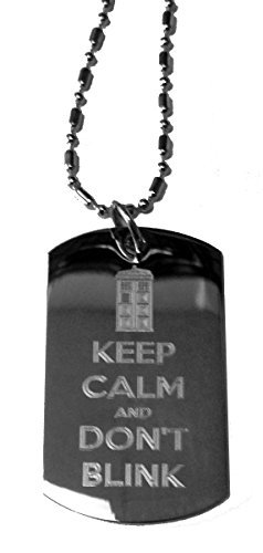 Keep Calm and Don't Blink Tardis Police BOX Logo Symbol – Military Dog Tag, Luggage Tag Metal Chain Necklace by Dog Tags