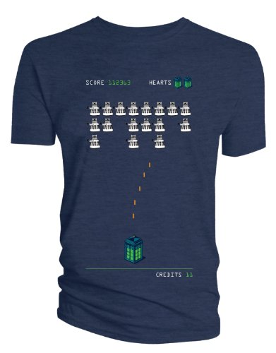 Doctor Who: Dalek Space Invaders T-Shirt (Navy, Small)