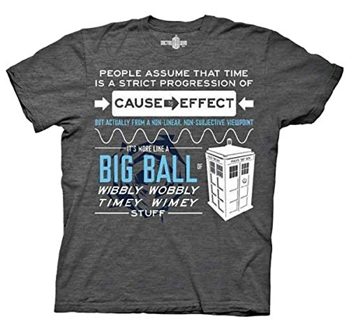 Dr. Who Doctor Who Wibbly Wobbly Quote Adult Gray T-Shirt (Adult X-Large)