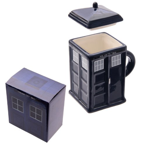 Square Shaped Police Call Box Mug with Lid in gift box