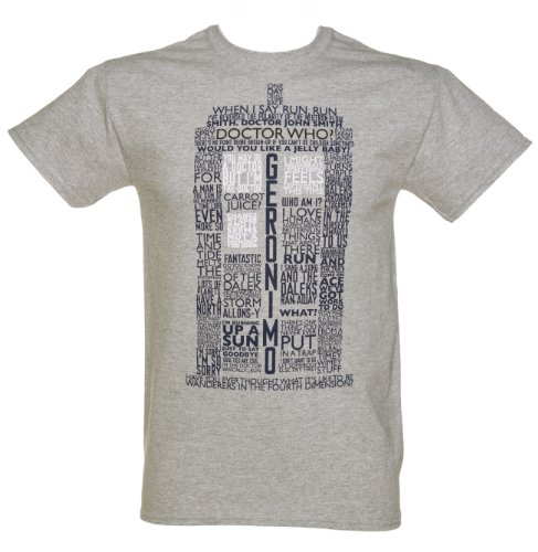 Mens Grey Marl Doctor Who Tardis Quotes T Shirt