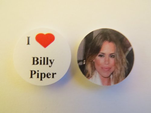 I Love Billy Piper Novelty 25mm (1 inch) Button Pin Badge Set (2x Button Badges).