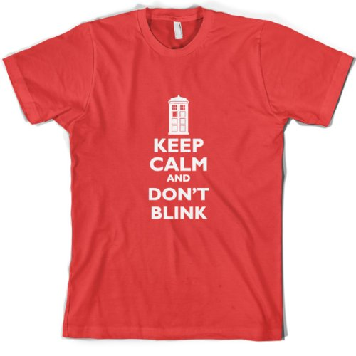 Keep Calm And Don't Blink – Mens T-Shirt-Red-Large
