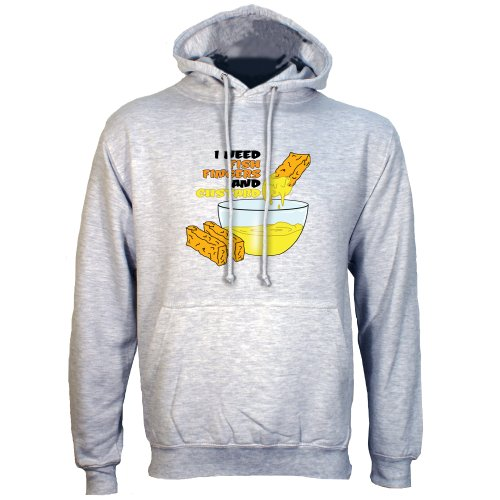 Grey Extra Large (Mens 42″- 44″) I Need Fish Fingers And Custard Mens Hoodie