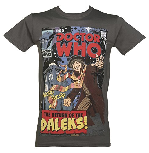 Mens Charcoal Baker Comic Book Cover Doctor Who T Shirt from BBC Worldwide