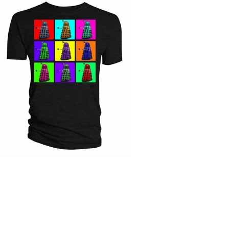 Doctor Who Psychedelic Dalek Squares Black T Shirt (Men:  X-Large)