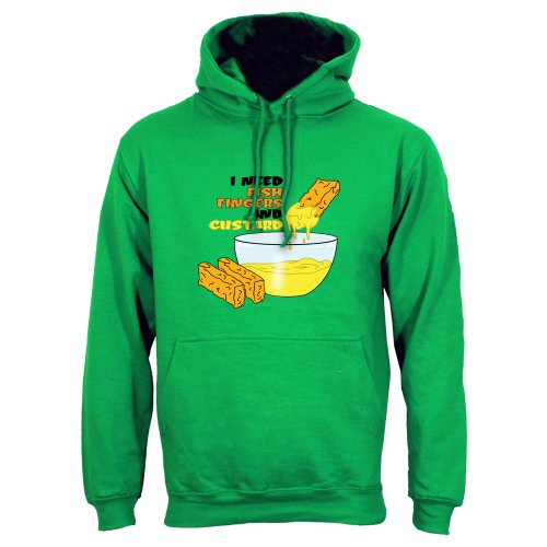 Green Extra Large (Mens 42″- 44″) I Need Fish Fingers And Custard Mens Hoodie