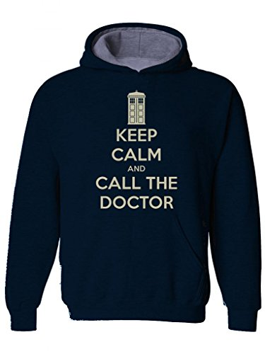 KEEP CALM AND CALL THE DOCTOR- Classic Sci-fi Cult TV series inspired Mens Hoodie, Hooded top