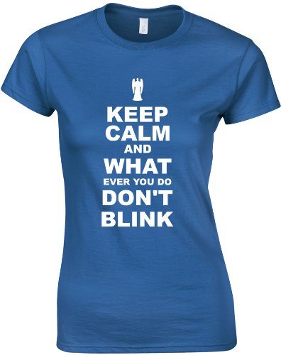 Keep Calm and Don't Blink, Ladies Printed T-Shirt – Royal Blue/White M = 8-10