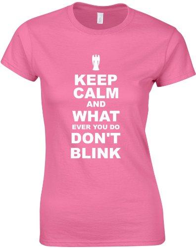Keep Calm and Don't Blink, Ladies Printed T-Shirt – Azalea/White 2XL = 14-16