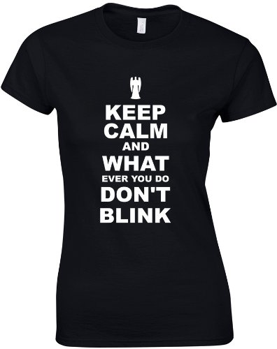 Keep Calm and Don't Blink, Ladies Printed T-Shirt – Black/White L = 10-12