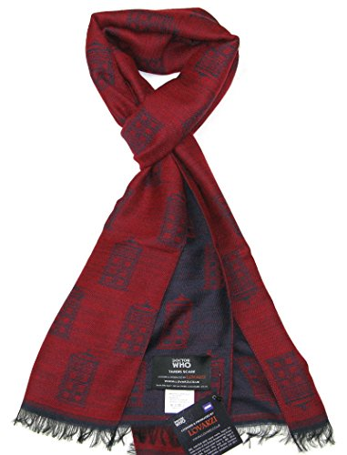 TARDIS Blue and Red Scarf – Official BBC Licensed Doctor Who Scarf by LOVARZI – Memorabilia Gifts
