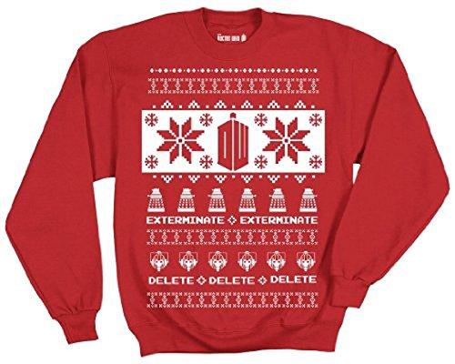 Doctor Who Logo with Villians Pattern Ugly Christmas Sweatshirt (Adult X-Large)