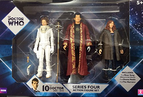 New BBC Doctor Who series 4 action figure set – Donna Noble, River Song (Silence in the Library), The Narrator