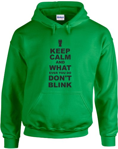 Keep Calm and Don't Blink, Printed Hoodie – Irish Green/Black S