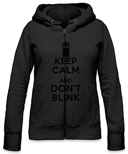 Keep Calm And Don't Blink Womens Zipper Hoodie Large