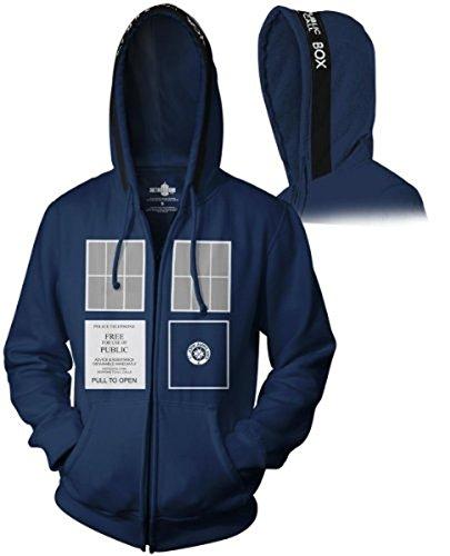Doctor Who TARDIS Adult Navy Zip-Up Sweatshirt Hoodie (Adult Medium)
