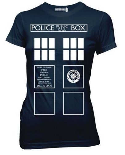 Doctor Who Costume Tardis Juniors Blue T-Shirt | M