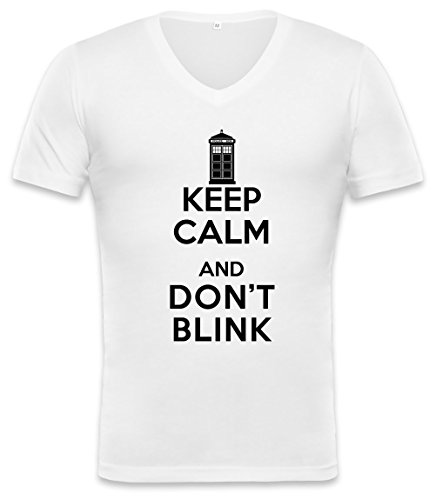 Keep Calm And Don't Blink Unisex V-neck T-shirt Small