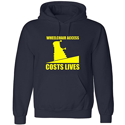 DOCTOR Dalek Funny Wheelchair Access Cost lives Navy Hoodie Adult All Size Free Delivery (XS-XXL) XS