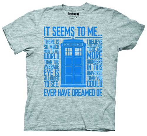 Doctor Who It Seems To Me Quote T-shirt (Small, Grey)