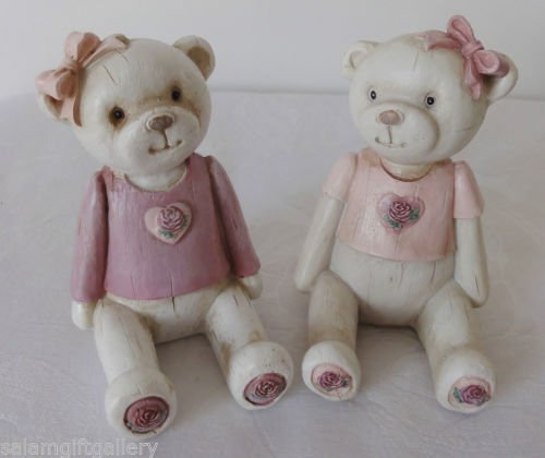 LOVELY WOOD EFFEFT RESIN TEDDY BEAR ORNAMENT PINK ROSE HEART IN GIFT BOX 844845